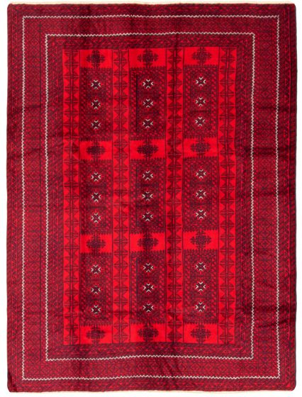Bordered  Tribal Red Area rug 6x9 Afghan Hand-knotted 342391