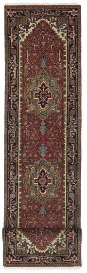 FloralTraditional Orange Runner rug 12-ft-runner Indian Hand-knotted 207551