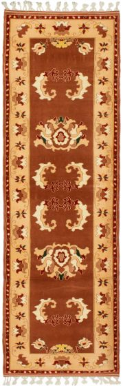 Bordered  Traditional Brown Runner rug 9-ft-runner Turkish Hand-knotted 293705