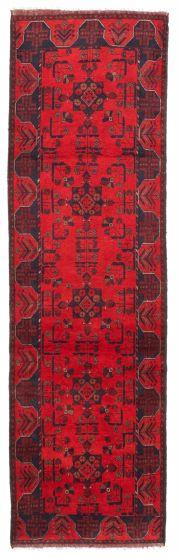 Bordered  Tribal Red Runner rug 10-ft-runner Afghan Hand-knotted 342275