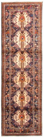 Bordered  Tribal Ivory Runner rug 10-ft-runner Afghan Hand-knotted 342437