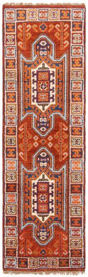 Bordered  Traditional Orange Runner rug 7-ft-runner Indian Hand-knotted 363099