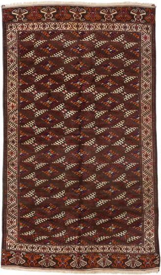 Traditional Brown Area rug Unique Russia Hand-knotted 191634