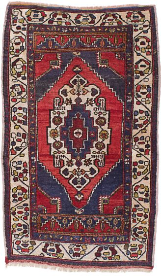 Traditional Red Area rug Unique Turkish Hand-knotted 220743