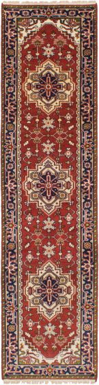 Bordered  Traditional Brown Runner rug 10-ft-runner Indian Hand-knotted 266044
