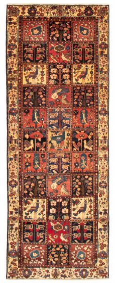 Bordered  Traditional Red Runner rug 10-ft-runner Persian Hand-knotted 358614