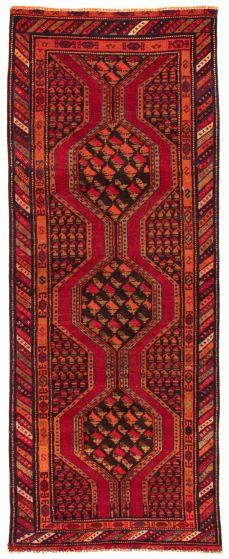 Bordered  Tribal Red Runner rug 10-ft-runner Turkish Hand-knotted 367136
