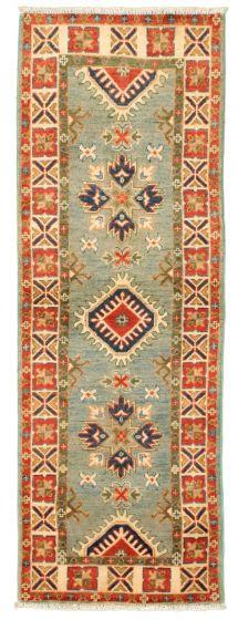Bordered  Traditional Blue Runner rug 6-ft-runner Afghan Hand-knotted 331499
