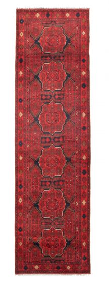 Bordered  Traditional Red Runner rug 10-ft-runner Afghan Hand-knotted 342303