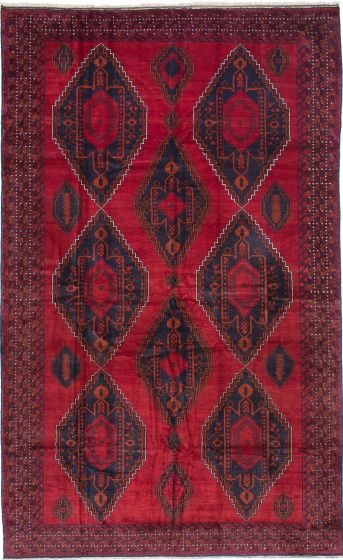 Geometric  Traditional Red Area rug Unique Afghan Hand-knotted 215408