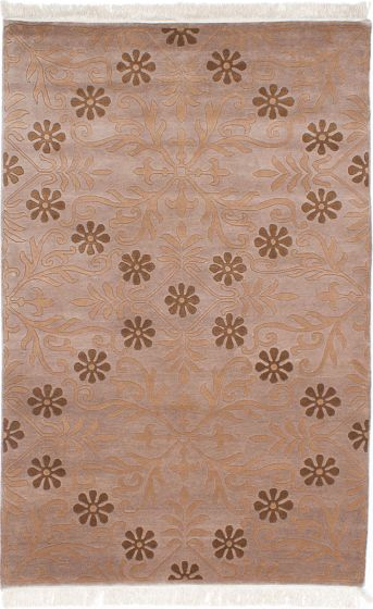 Transitional Brown Area rug 5x8 Nepal Hand-knotted 230557