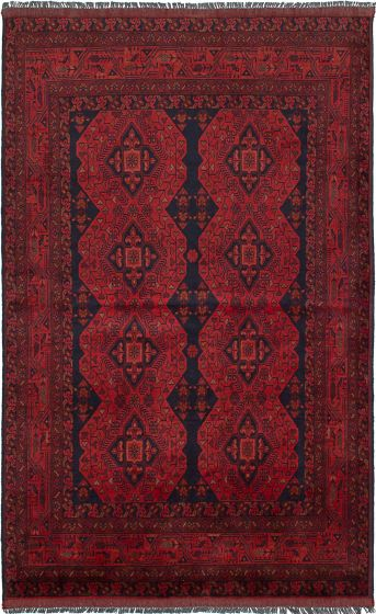 Traditional  Tribal Red Area rug 4x6 Afghan Hand-knotted 234577