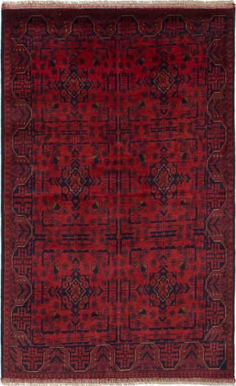 Traditional  Tribal Red Area rug 4x6 Afghan Hand-knotted 235594