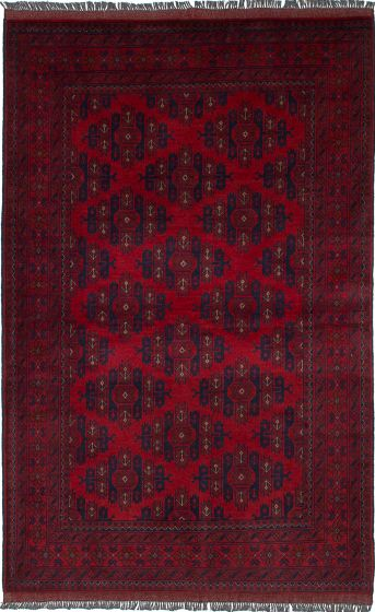 Traditional  Tribal Red Area rug 4x6 Afghan Hand-knotted 236391