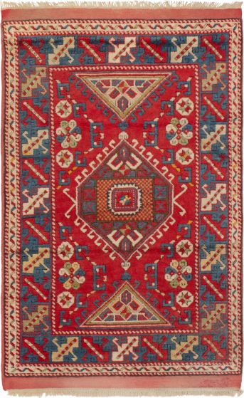 Bordered  Traditional Red Area rug 4x6 Turkish Hand-knotted 293788
