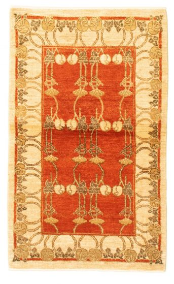 Bordered  Transitional Brown Area rug 3x5 Pakistani Hand-knotted 331249