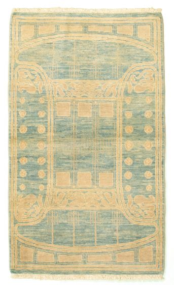 Bordered  Transitional Blue Area rug 3x5 Pakistani Hand-knotted 331252