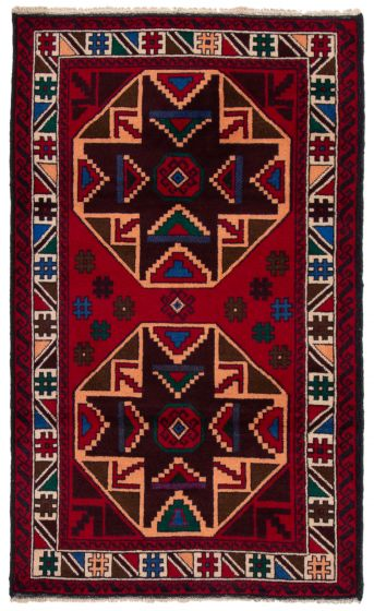 Bordered  Tribal Red Area rug 3x5 Afghan Hand-knotted 360593