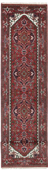 Traditional Red Runner rug 12-ft-runner Indian Hand-knotted 207131