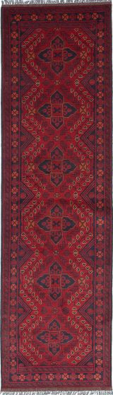 Traditional Red Runner rug 10-ft-runner Afghan Hand-knotted 222249