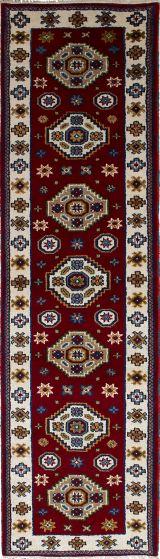 Bordered  Tribal Red Runner rug 10-ft-runner Indian Hand-knotted 233328