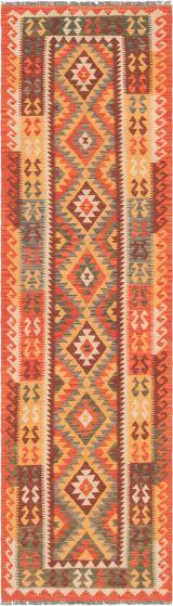 Bordered  Geometric Brown Runner rug 10-ft-runner Turkish Flat-weave 297896