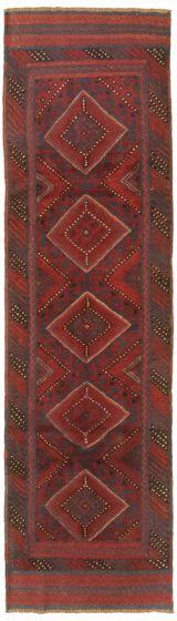 Bordered  Tribal Red Runner rug 8-ft-runner Afghan Hand-knotted 342515