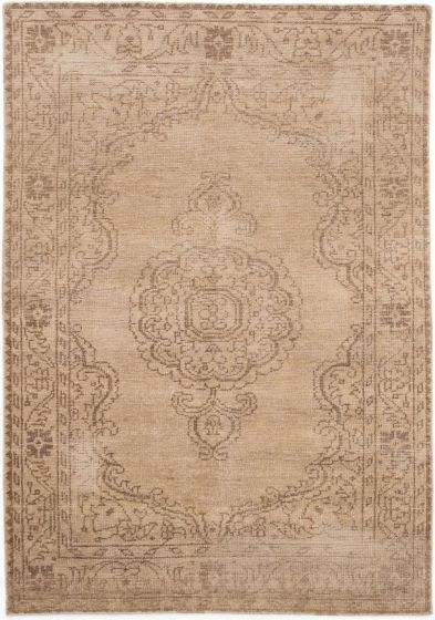 Transitional Ivory Area rug 5x8 Indian Hand-knotted 196494
