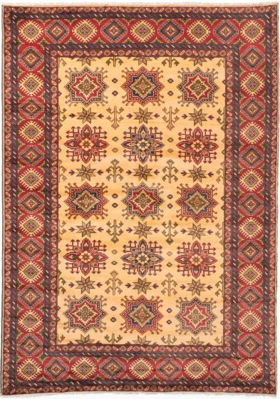 Tribal Yellow Area rug 6x9 Afghan Hand-knotted 202866