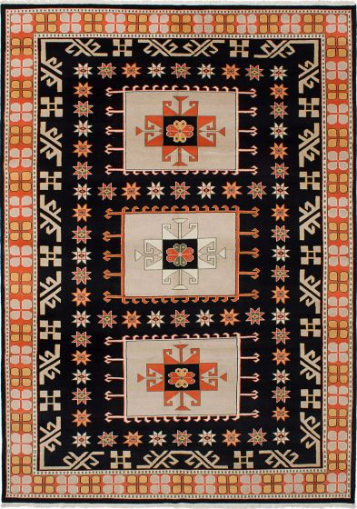 Traditional Black Area rug 8x10 Pakistani Hand-knotted 230717