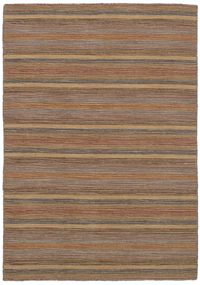 Bohemian  Stripes Brown Area rug 4x6 Indian Flat-weave 259669