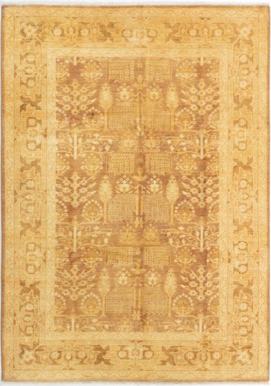 Bordered  Traditional Brown Area rug 5x8 Pakistani Hand-knotted 280549