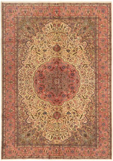 Bordered  Traditional Ivory Area rug 6x9 Turkish Hand-knotted 280976