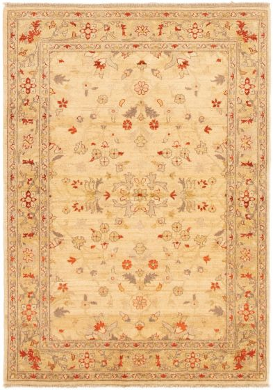 Bordered  Traditional Ivory Area rug 3x5 Afghan Hand-knotted 292970
