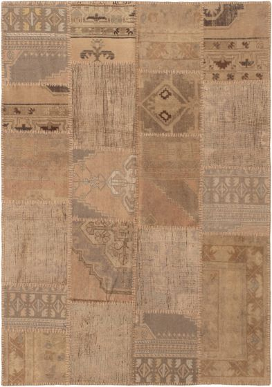 Casual  Vintage Brown Area rug 5x8 Turkish Hand-knotted 296045