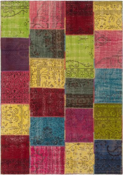 Casual  Transitional Multi Area rug 6x9 Turkish Hand-knotted 296106