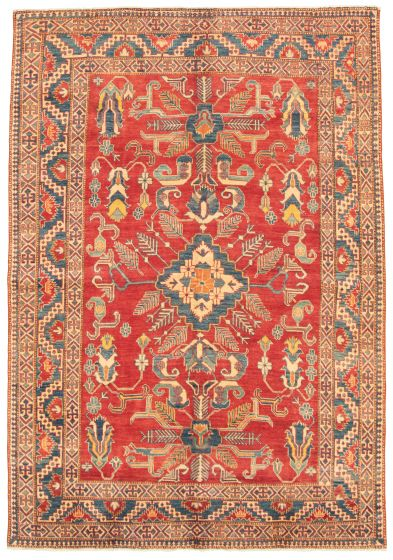 Bordered  Traditional Red Area rug 6x9 Afghan Hand-knotted 325347