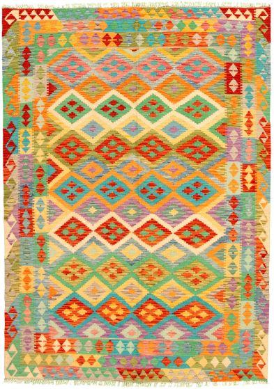 Bordered  Geometric Multi Area rug 5x8 Turkish Flat-weave 329876