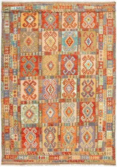 Bordered  Geometric Multi Area rug Unique Turkish Flat-weave 329974