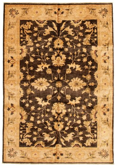 Bordered  Traditional Brown Area rug 5x8 Afghan Hand-knotted 331635