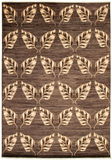 Casual  Transitional Brown Area rug 6x9 Pakistani Hand-knotted 339015