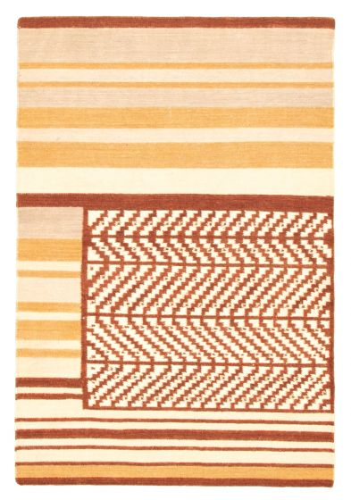 Flat-weaves & Kilims  Transitional Brown Area rug 3x5 Indian Flat-weave 344507