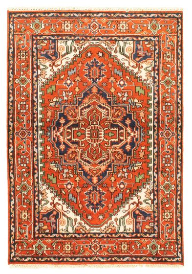 Bordered  Traditional Brown Area rug 3x5 Indian Hand-knotted 344904