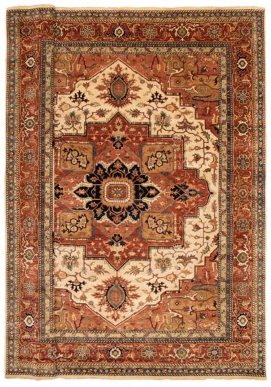 Bordered  Traditional Ivory Area rug 12x15 Indian Hand-knotted 354903