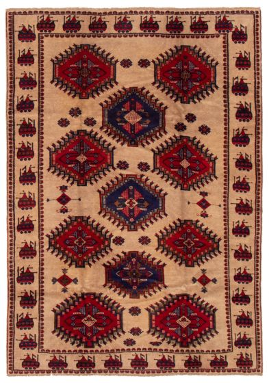 Bordered  Tribal Brown Area rug 5x8 Afghan Hand-knotted 357383