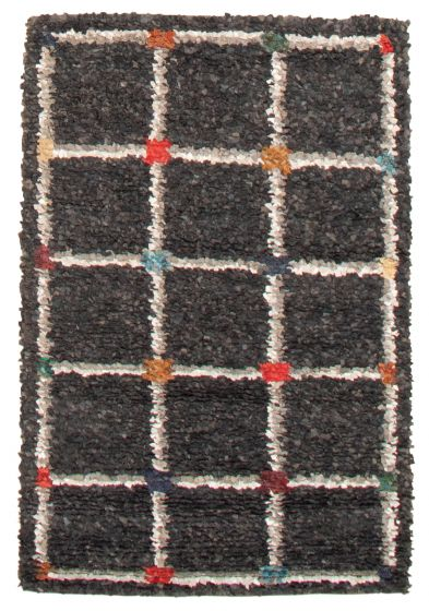 Bordered  Traditional Black Area rug 3x5 Indian Hand-knotted 364845
