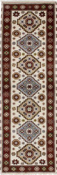Bordered  Tribal Ivory Runner rug 8-ft-runner Indian Hand-knotted 233363