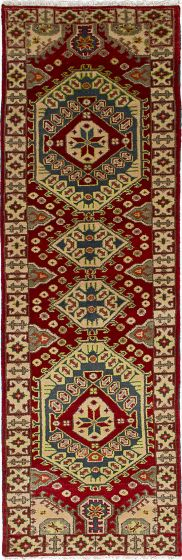 Traditional Red Runner rug 9-ft-runner Indian Hand-knotted 233377