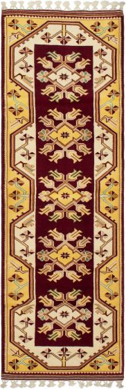 Bordered  Traditional Red Runner rug 8-ft-runner Turkish Hand-knotted 293672