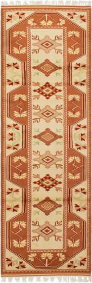 Bordered  Traditional Brown Runner rug 8-ft-runner Turkish Hand-knotted 293678